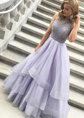 Glamorous Crystal Sheer Prom Dresses | Simple Cheap Sleeveless Evening Dresses_2