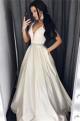 Glamorous V-Neck Belt Prom Dresses | Sleeveless Evening Dresses with Pocket_1