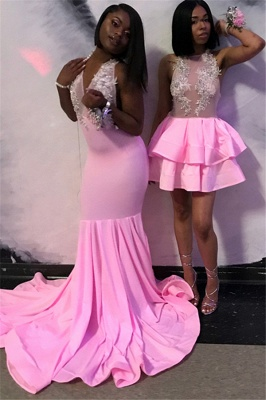 Elegant Pink Halter Summer Sleeveless Trumpet Girl's Evening Gown | Suzhou UK Online Shop_1
