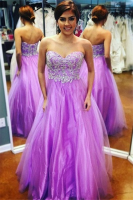 Glamorous Sweetheart Lace Appliques Prom Dresses | Purple Open Back Evening Dresses with Beads_1