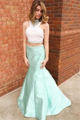 Glamorous Halter Crystal Sexy Mermaid Prom Dresses | Two Piece Ruffles Sleeveless Evening Dresses_4