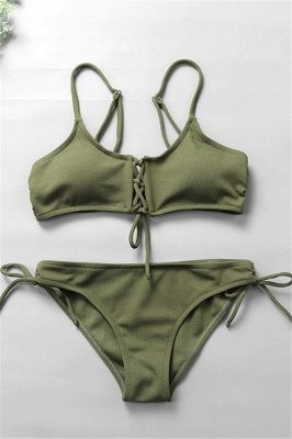 Spaghetti Straps Lace-up Bras Two-piece Bikini Swimsuits_2