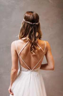 Gorgeous Lace Crystal Spaghetti-Strap Wedding Dresses | Sheer Lace Up Sleeveless Floral Bridal Gowns_3