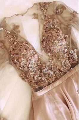 Glamorous Sequin V-Neck Lace Appliques Crystal Prom Dresses | Side slit Longsleeves Evening Dresses_2