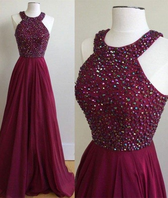 Crystal Jewel Prom Dresses | Sheer Sleeveless Evening Dresses_2