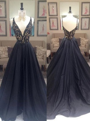 Black Lace V-Neck Sleeveless Prom Dresses | Open Back Evening Dresses with Beads_3