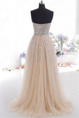 Glamorous Sweetheart Sequins Pink Prom Dresses | Sleeveless Open Back Crystal Evening Dresses_2