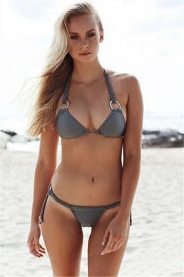 Halter Bandage Swimwear Triangle Two-piece Bikini Set_1