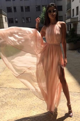 Glamorous Sheer Halter Ribbons Prom Dresses | Side slit Overskirt Bowknot Sleeveless Evening Dresses_4