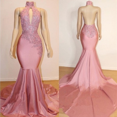 Halter Trendy Backless Trumpet Appliques Long Train Prom Dresses | Suzhou UK Online Shop_3