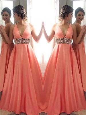 Crystal V-Neck Lace Prom Dresses Sleeveless Side Slit Tulle Sexy Evening Dresses_2