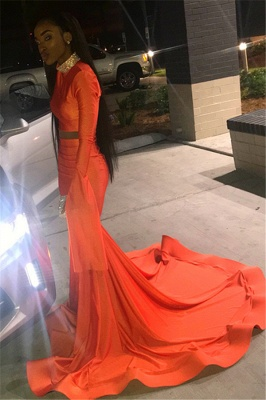 Sexy Orange Sleeved High-Neck Trumpet Long Prom Dress | Suzhou UK Online Shop_2