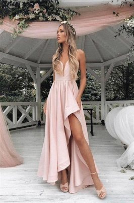 Glamorous Straps Prom Dresses | Side slit A-Line Sleeveless Evening Dresses_1
