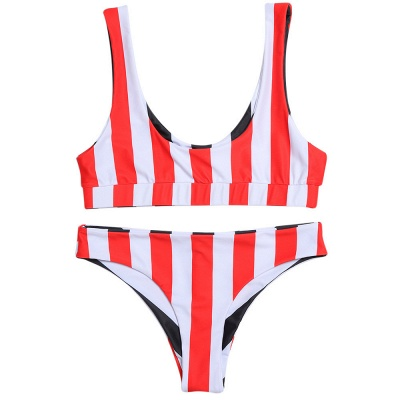 Vintage Scoop Spaghetti Striped Two-piece Swimsuits_9