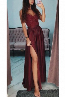 Lace Appliques Spaghetti-Strap Prom Dresses | Side slit Sleeveless Evening Dresses with Beads_3
