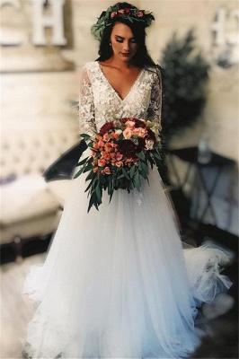 Gorgeous V-Neck Applique Wedding Dresses | Sheer Longsleeves Floral Bridal Gowns_1