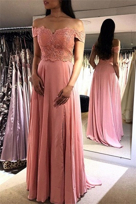 Glamorous Pink Off-the-Shoulder Prom Dresses | Lace Appliques  Sleeveless Evening Dresses_1