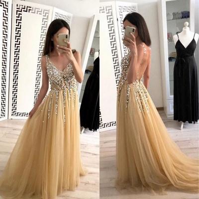 Glamorous Lace Appliques V-Neck Crystal Prom Dresses | Backless Sleeveless Evening Dresses_2