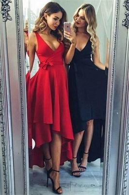 Glamorous Bowknot V-Neck Prom Dresses | Hi-Lo Ruffles Sleeveless Evening Dresses_1