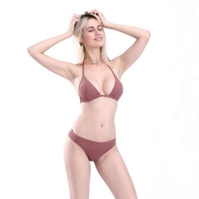 Plain Triangle Pads Halter Two-piece Bikini Sets_10