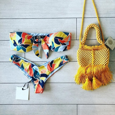 High Waist Strapless Colorful Patterns Two-piece Bikinis_8