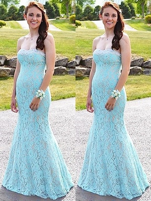 Glamorous Sweetheart Lace Crystal Prom Dresses | Sleeveless Sexy Mermaid Evening Dresses_4