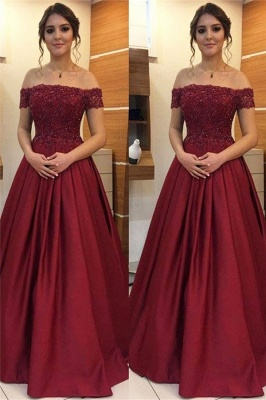 Burgundy Off-the-Shoulder Lace Appliques Prom Dresses | Beads Ruffles Sleeveless Evening Dresses_1