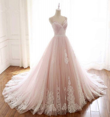 Glamorous Spaghetti-Strap Flower Lace Appliques Prom Dresses | Ball Gown Ruffle Crystal Sleeveless Evening Dresses_2