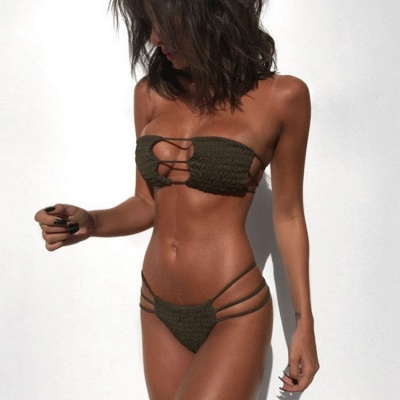 Solid Bandage Strapless Two-piece Bikini Sets_2