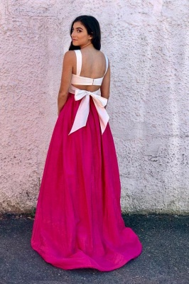 Straps Simple Sleeveless Prom Dresses   Two Piece   Evening Dresses_2