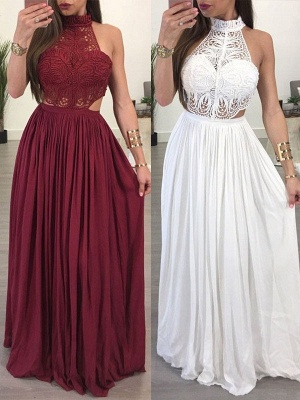 Lace Halter Sleeveless Ruffles Prom Dresses Popular  Sexy Evening Dresses_1