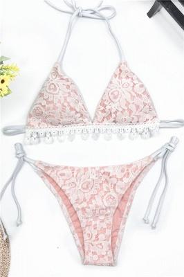 Cute Lace V-neck Two-piece Bandage Bikini Swimwears_8