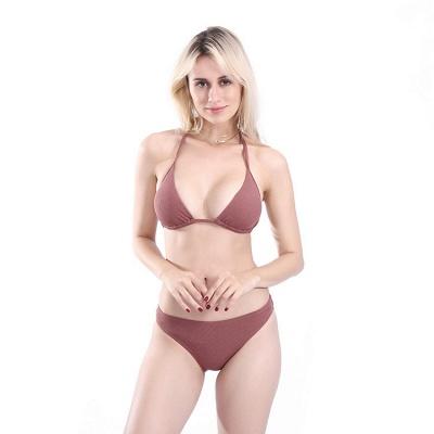 Plain Triangle Pads Halter Two-piece Bikini Sets_20