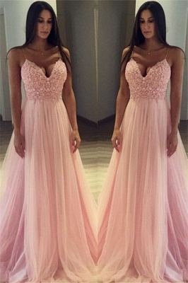 Pink Spaghetti Strap Applique Prom Dresses Sleeveless Tulle  Sexy Evening Dresses_1