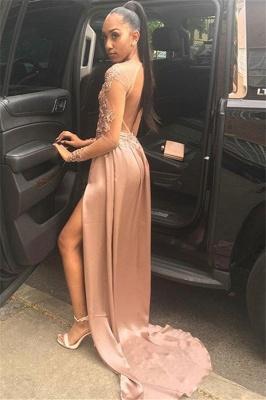 Glamour Sleeved Side Slit Trendy Backless Applique Princess A-line Long Prom Dress   Suzhou UK Online Shop_2