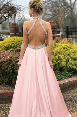 Glamorous Pink Halter Crystal Open Back Prom Dresses Sleeveless Ruffles Sexy Evening Dresses with Belt_2