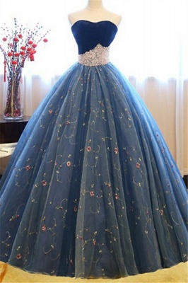 Sweetheart Lace Flower Crystal Prom Dresses Sleeveless Ball Gown Sexy Evening Dresses with Beads_2