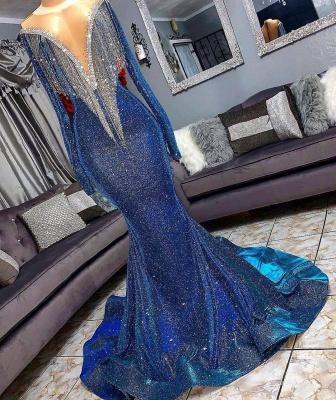 Luxurious Sequins Long Sleeves Trumpet Sheer Neckline Prom Dresses | Suzhou UK Online Shop_1