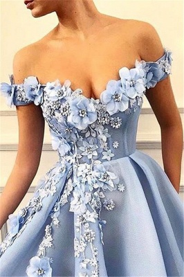 Elegant Off-The-Shoulder Flower Appliques Summer Sleeveless Princess A-line Prom Dress | Suzhou UK Online Shop_2