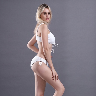 Spaghetti Straps Lace-up Bras Two-piece Bikini Swimsuits_10