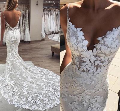 Elegant Mermaid Sleeveless Applique Spaghetti-Strap Wedding Dresses | Bridal Gowns On Sale_2