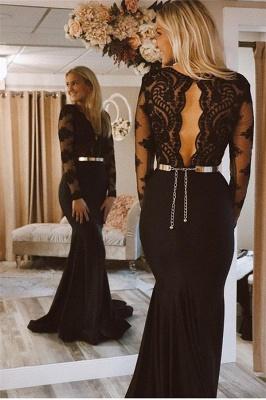 Elegant Black Sleeved Lace Applique Long Trumpet Prom Dresses | Suzhou UK Online Shop_2
