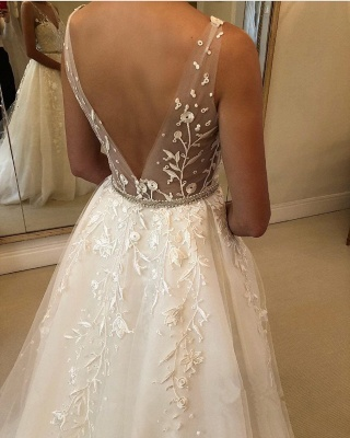 Gorgeous Sheer Straps Applique Wedding Dresses | Sleeveless Floral Bridal Gowns with ribbons_3