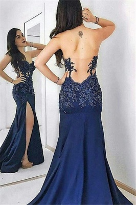 Navy Blue Sweetheart Applique Prom Dresses Mermaid Open Back Side Slit Sexy Evening Dresses_2