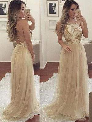 Glamorous Halter Applique Open Back Prom Dresses Sleeveless Sexy Evening Dresses with Crystal_1