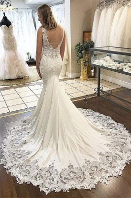 Gorgeous V-Neck Appliques Wedding Dresses | Sleeveless Backless Mermaid Floral Bridal Gowns_2