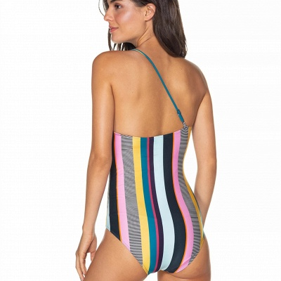 One-shoulder Colorful Sripes One-piece Swimwears_4