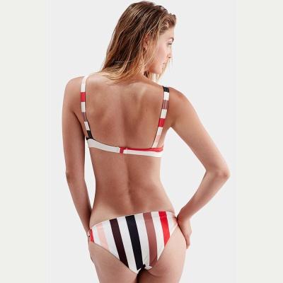 Stylish Stripes Spaghetti Straps Knot Two-piece Bikinis_4