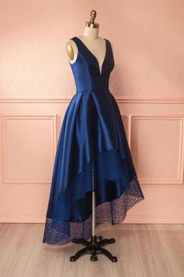 Glamorous Thick Satin Straps Prom Dresses | Hi-Lo Lace Sleeveless Evening Dresses_3