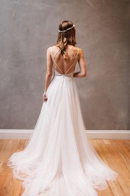 Gorgeous Lace Crystal Spaghetti-Strap Wedding Dresses | Sheer Lace Up Sleeveless Floral Bridal Gowns_2